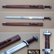 Five Lobed Viking Sword With Hardwood Leather Covered Scabbard.
